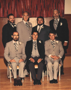 Selkirk Council from 1980-1983 Back Row – R. Oliver, D. McKenzie, P. Joyce, L. Davies Front Row – P. Hendrikson, Mayor Bill Shead, S. Banera