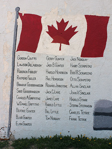This is a photo of a mural painted on the side of a building. There is a Canada flag raised on a pole with a list of names written underneath. The who are listed all fought in the second World War. They all lived in the same block of selkirk. They are known as the Dufferin Gang